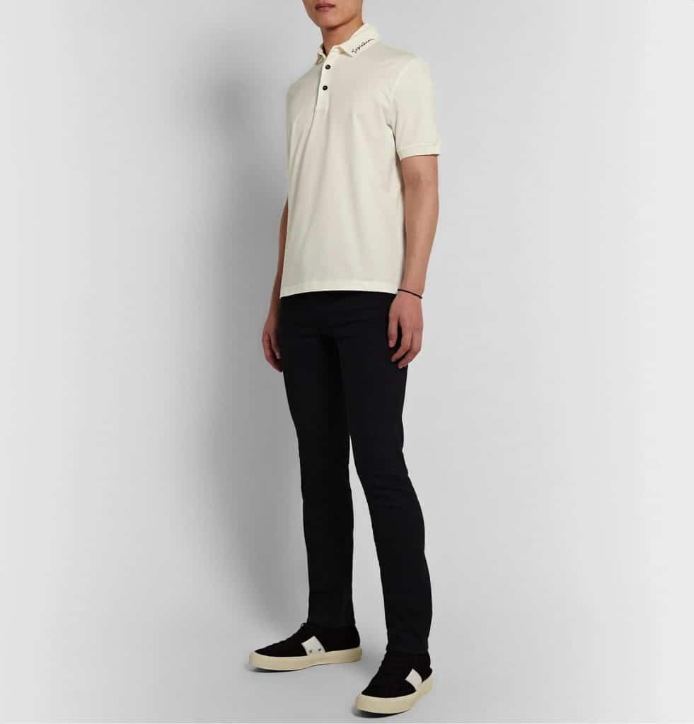 Men's White Stretch Cotton Piqué Polo Shirt