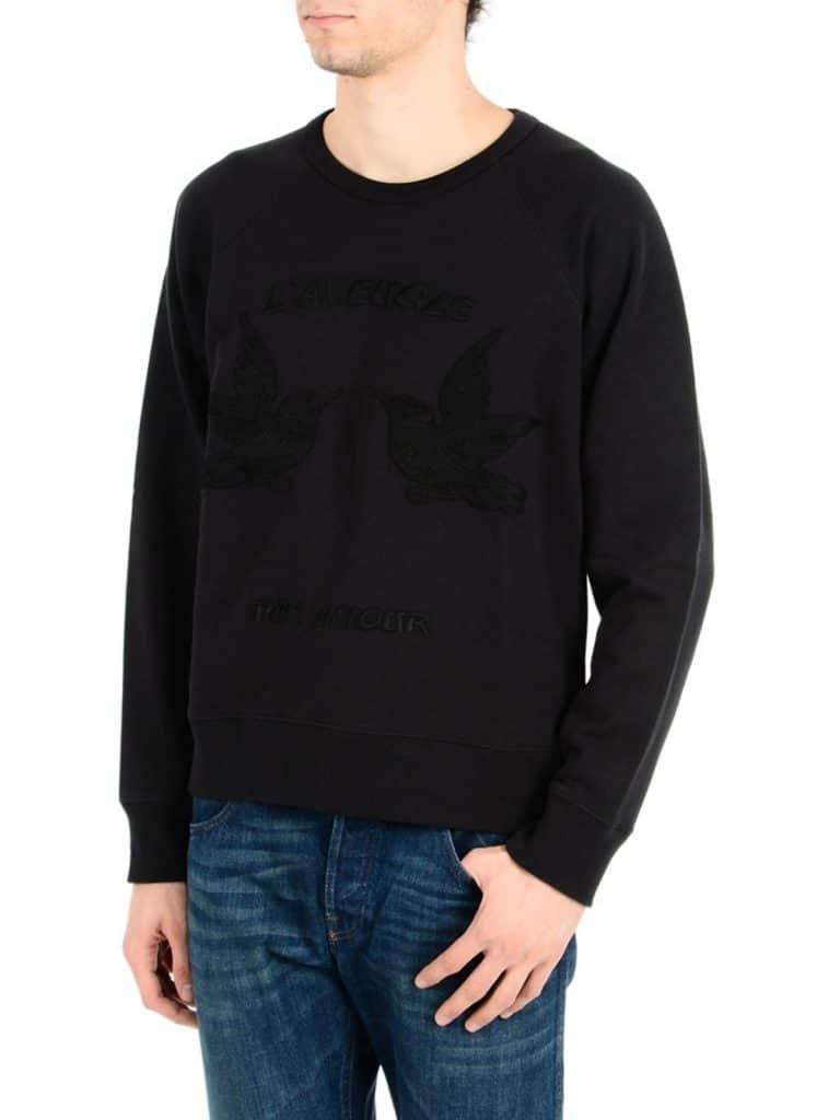 Gucci Men's Black Hummingbirds Embroidery Sweatshirt