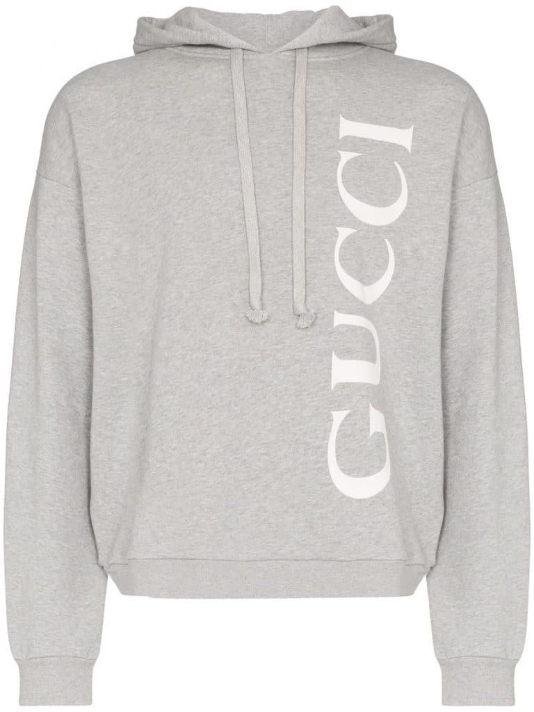 Gucci Men's Gray Hooded Cotton Sweatshirt