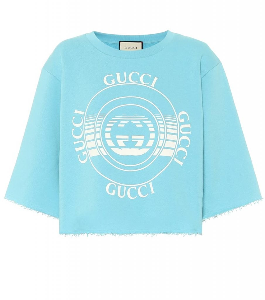 Gucci Women's Blue Printed Cotton Cropped Sweatshirt: