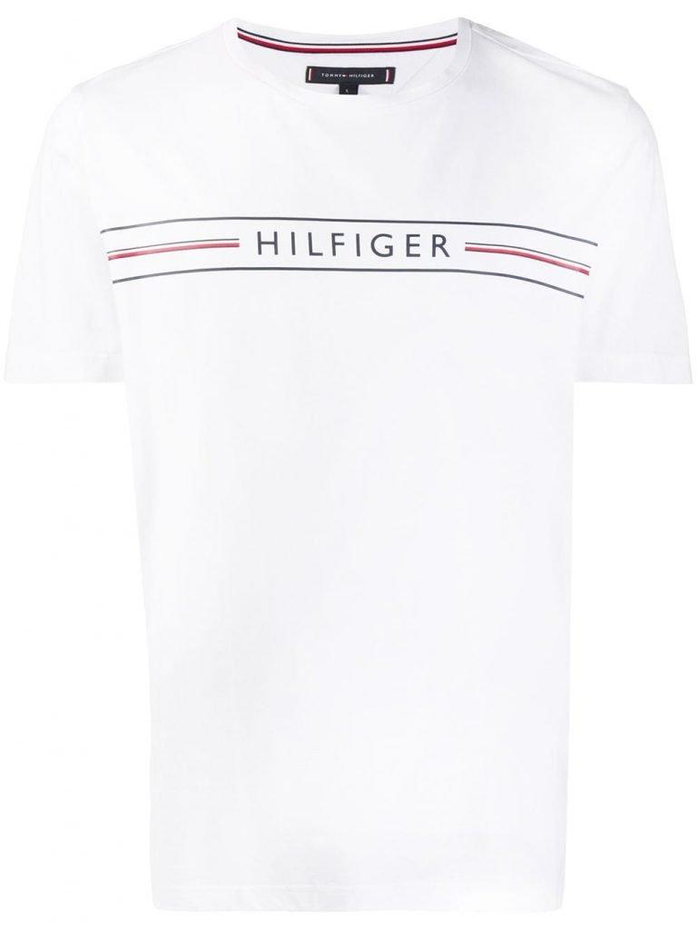 Logo Stripe Print Crew Neck T-shirt