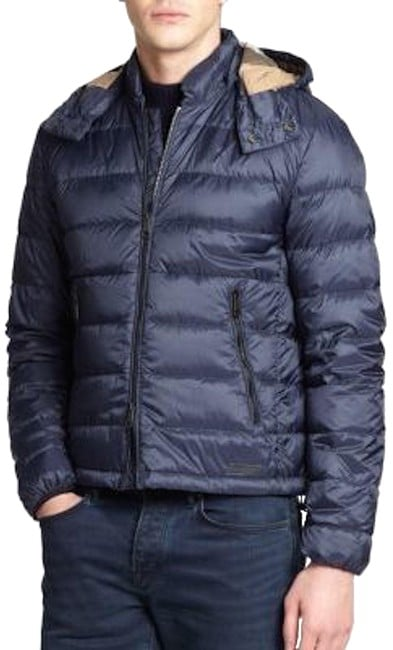Navy Goose Down Quilted Puffer Jacket