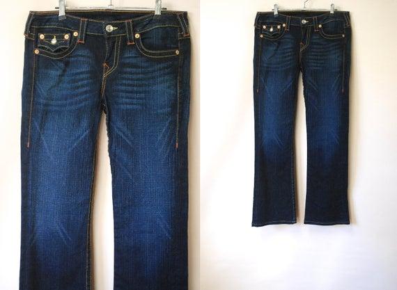 True Religion Dark Denim Bootcut Jeans: