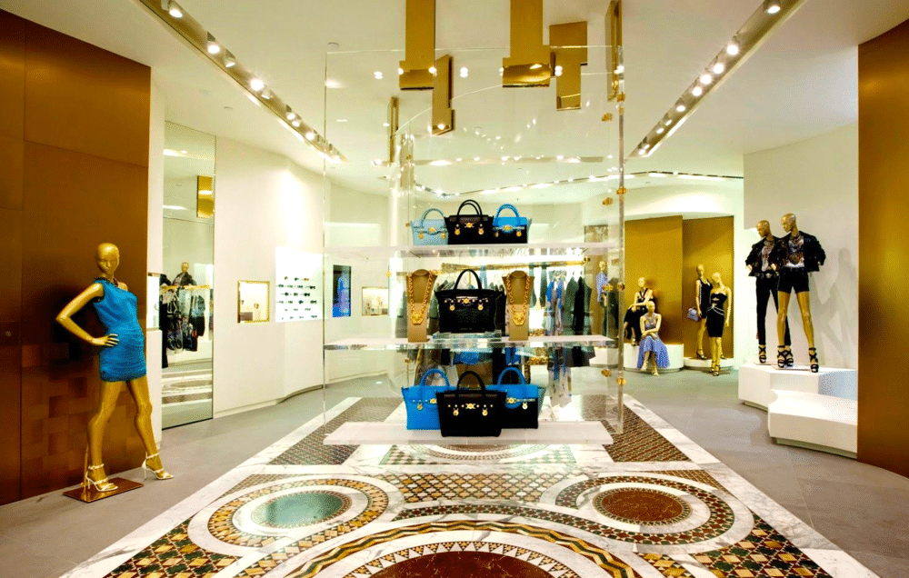 Inside of a Versace store