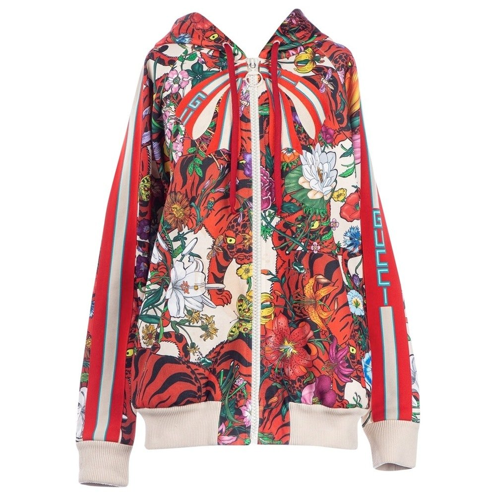 Incredible Silk Tigers and Floral Motif Gucci Silk Bomber