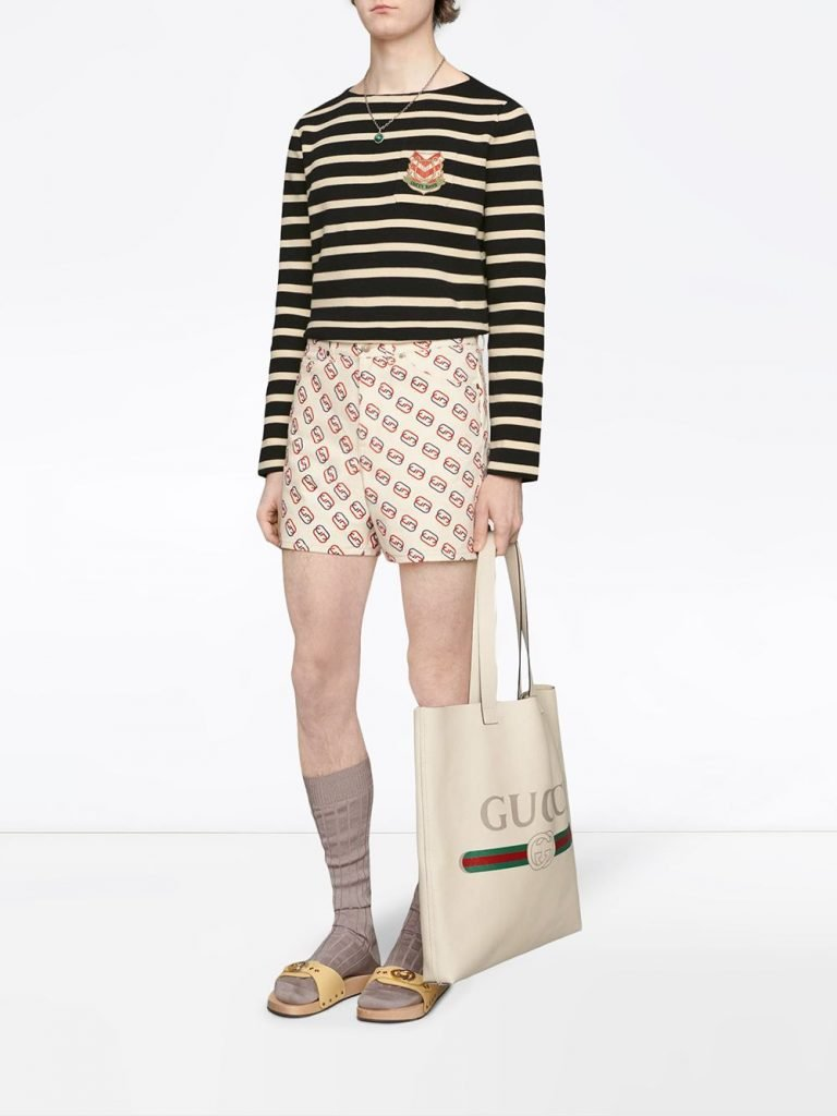 Striped Cotton Sweater with Lyre