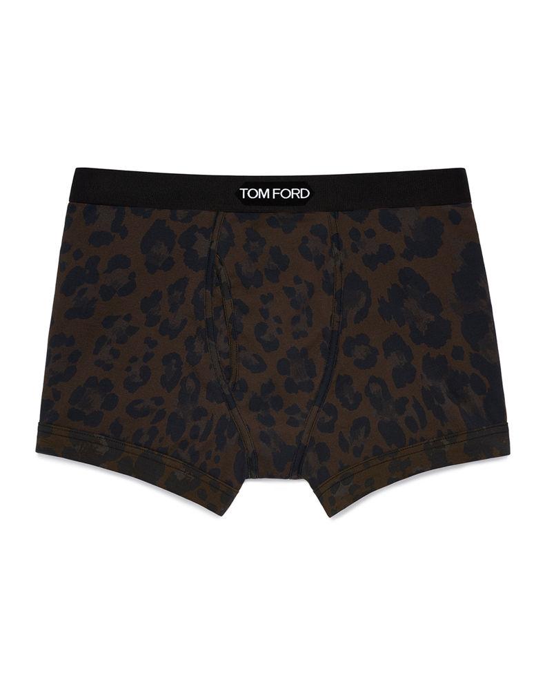 Tom Ford Cotton Leopard-Print Boxer Briefs: