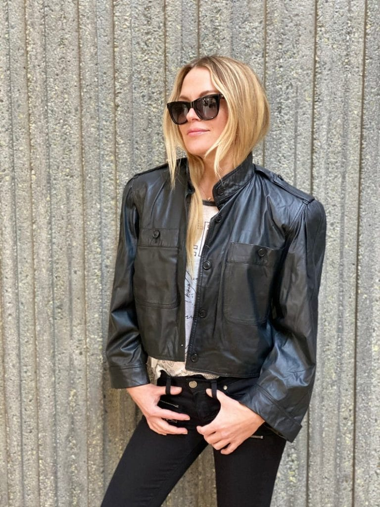 Vintage 80's Gucci Black Leather Crop Jacket Moto Blazer