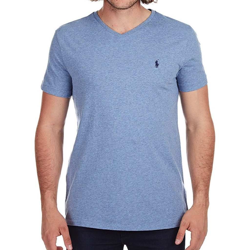 Polo RL Men's Classic-Fit V-Neck T-Shirt (Cobalt Heather, Large)