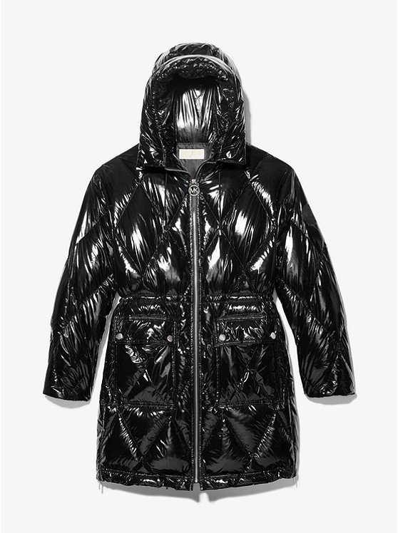 Diamond Quilted Ciré Puffer Coat