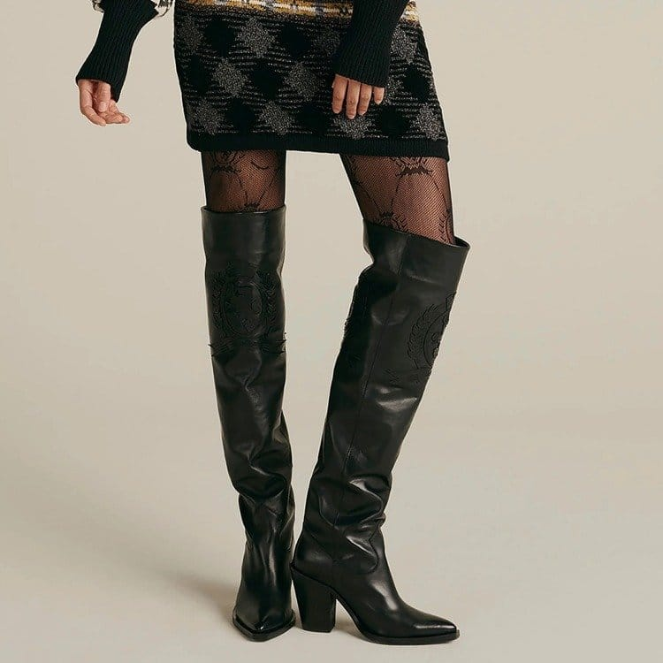 Leather Under-Knee Boots