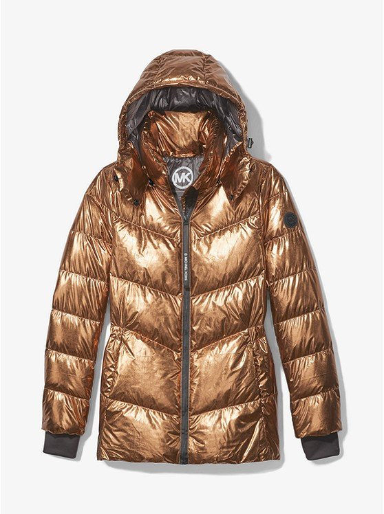 Metallic Quilted Chevron Packable Puffer Jacket