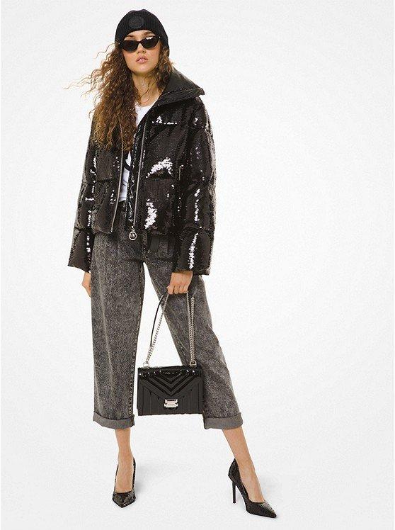 Sequined Ciré Puffer Jacket