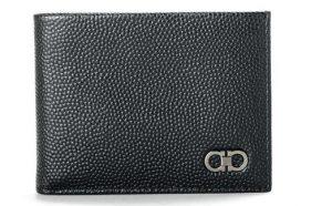 Black Men's Textured Leather Bifold Wallet