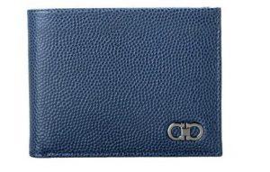 Blue Men's Textured Leather Bifold Wallet