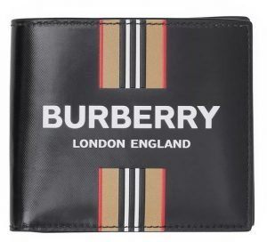 Burberry Logo And Icon Stripe Print Bifold Wallet