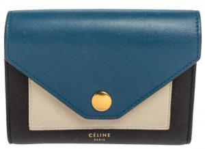 Celine Tricolor Leather Flap Multifunction Compact Wallet