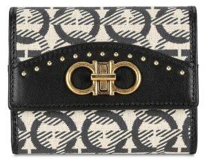 Ferragamo Beige/Black Small Gancini Wallet