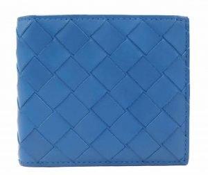 Intrecciato Blue Men's Bi-fold Wallet With Coin Case
