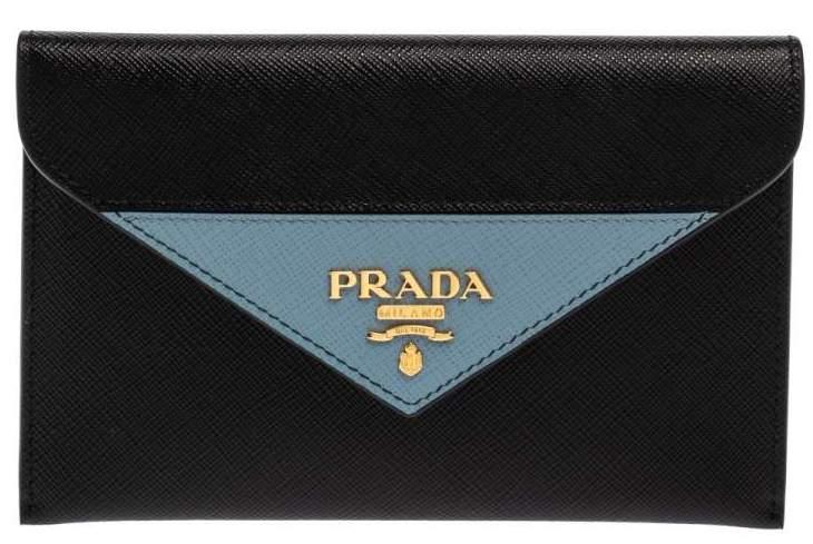 Prada Black/Blue Saffiano Leather Letter Wallet